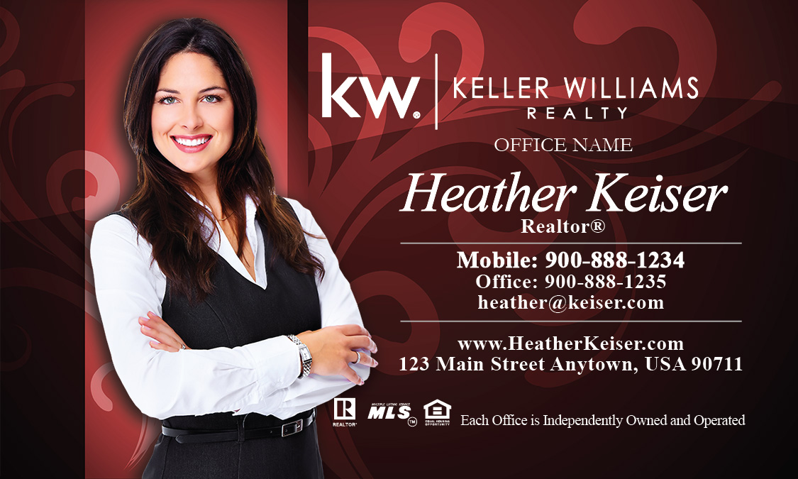 Keller Williams Business Cards Red with Elegant Swirls