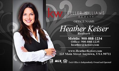 Keller Williams Business Card Gray with Elegant Swirls - Design #103102
