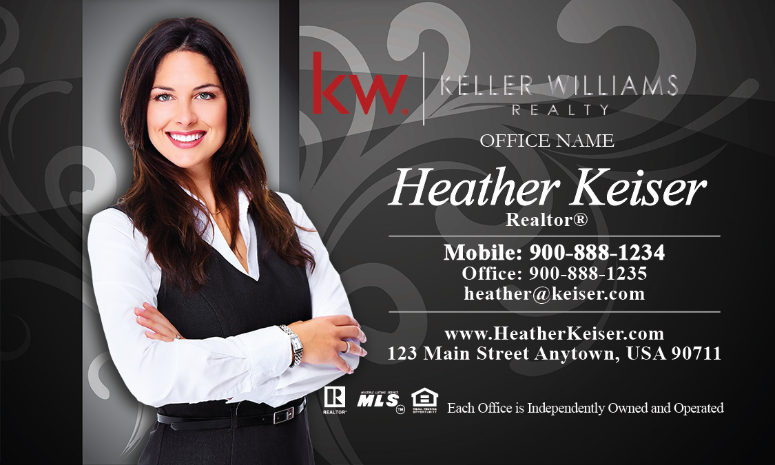 Keller williams realty business card templates online free ship keller williams business card gray with elegant swirls design 103102 accmission Images