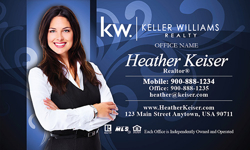 Keller Williams Business Cards Blue with Elegant Swirls - Design #103103