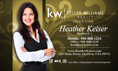 Keller Williams Business Card Gold with Elegant Swirls - Design #103104
