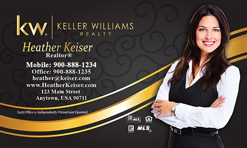 Keller Williams Business Card Black and Gold with Photo - Design #103111