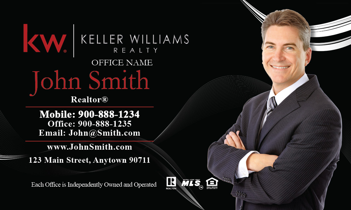 Black Keller Williams Business Card with Agent Head shot