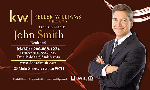 Red Keller Williams Business Card with Agent Head shot - Design #103122