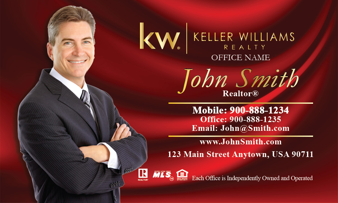 Keller Williams Business Card with Red Silk Design