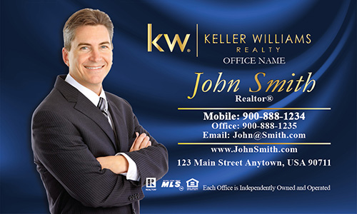 Keller Williams Business Card with Photo Blue Silk - Design #103142