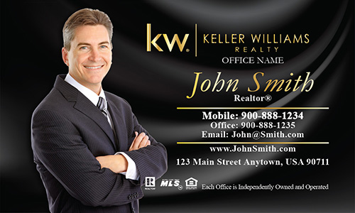 Keller Williams Business Card with Photo Black Silk - Design #103143