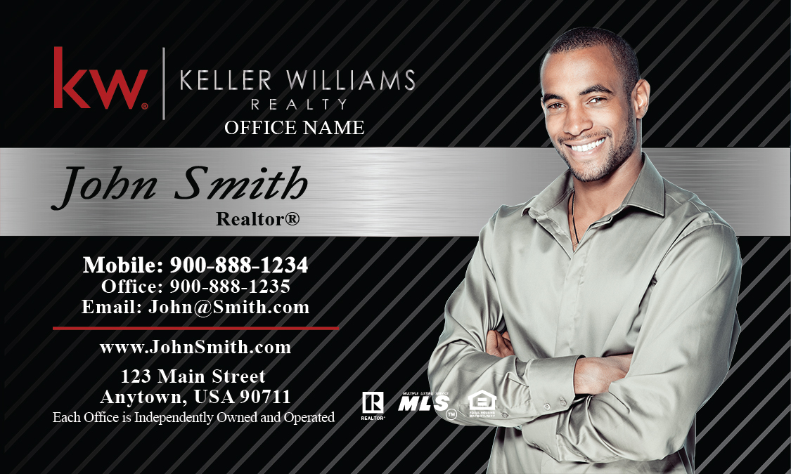 Keller Williams Business Card Black and Gray Design