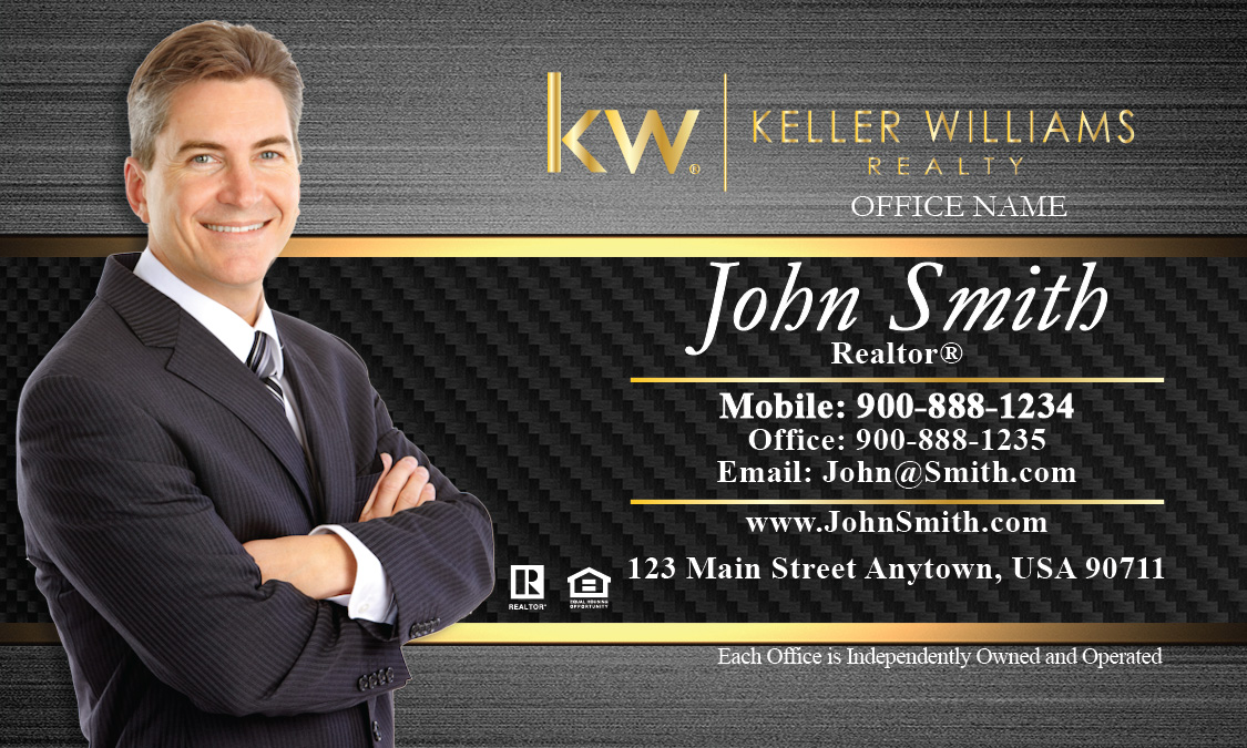 Keller Williams Business Card With Agent Photo Black And Gold Design 103181