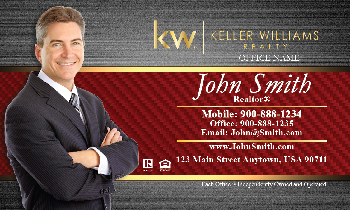 Keller williams realty business card templates online free ship red and gold keller williams business card with agent photo design 103182 accmission Images