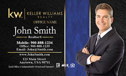 Keller Williams Business Card Modern Black and Blue - Design #103192