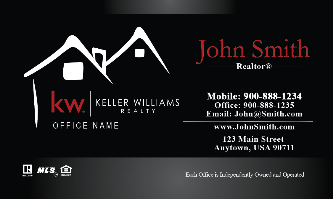 Keller Williams Business Card Custom Black Design