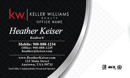 Keller Williams Business Card Black and White - Design #103221