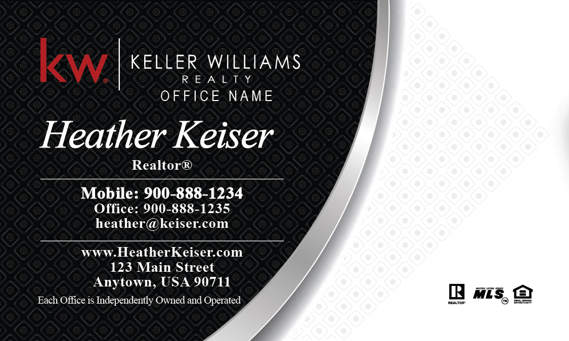 Keller williams business card black and white design 103221 colourmoves
