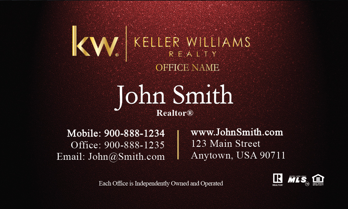 Gold Keller Williams Logo Red Realtor Business Card