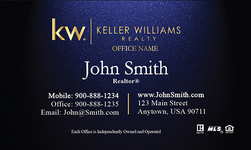 New Gold KW Logo Blue Realtor Business Card - Design #103313