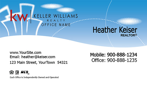 Keller Williams Business Card Cheerful Clouds - Design #103331