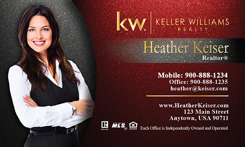Photo Overlay Red KW Business Card - Design #103341