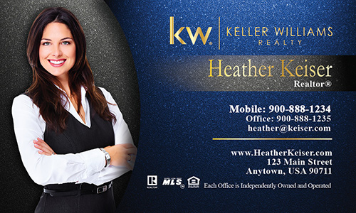 Photo Overlay Blue KW Business Card - Design #103342