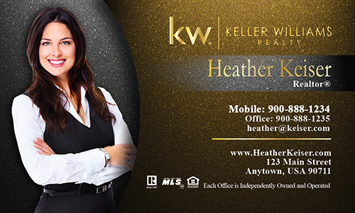 Photo Overlay Gold KW Business Card - Design #103343
