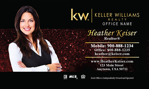 Keller Williams Business Card Holiday Glitter Red - Design #103351