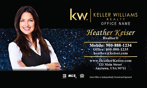 Keller Williams Business Card Holiday Glitter Blue - Design #103352