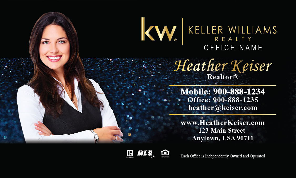 Keller Williams Business Card Holiday Glitter Blue