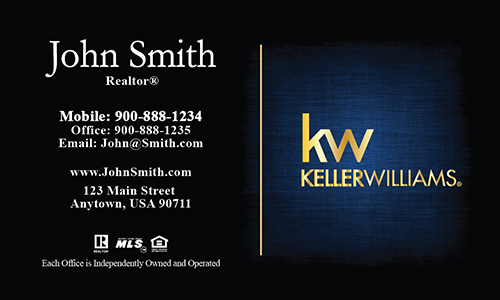 Gold KW Logo Realtor Business Card Dark Blue - Design #103382
