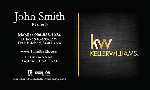 Keller Williams Gold Logo Realtor Business Card Black - Design #103384