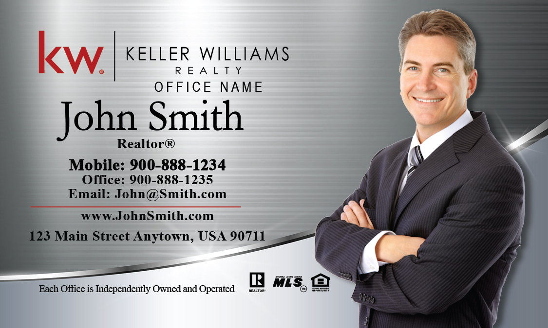 Keller williams business card silver stainless design 103391 friedricerecipe