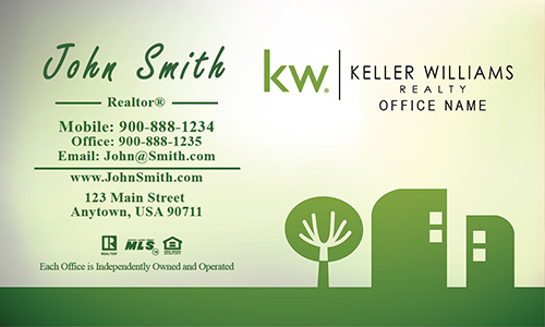 Keller Williams Business Card Green Abstract Tree and House - Design #103401