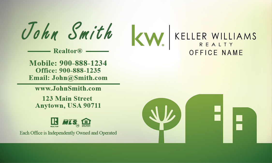 Keller Williams Business Card Green Abstract Tree and