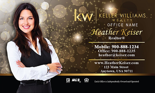 Keller Williams Realtor Business Card Gold Glitter Sparkle - Design #103421
