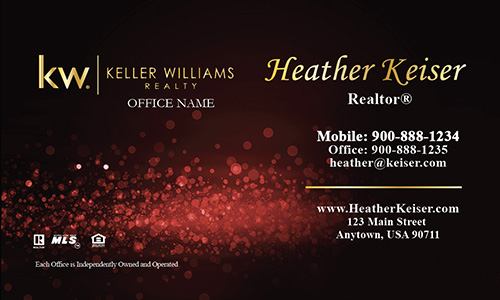 Keller Williams Business Card Red Glamorous Glitter - Design #103431
