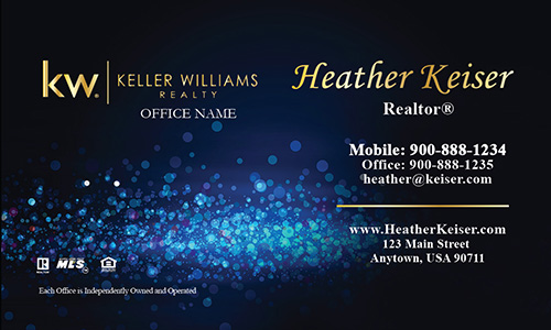 Keller Williams Business Card Blue Glamorous Glitter - Design #103432