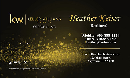 Keller Williams Business Card Gold Glamorous Glitter - Design #103433