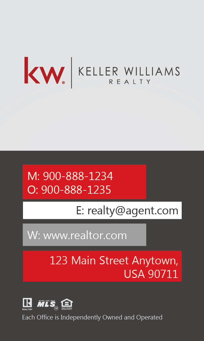 keller williams vertical white business card with head shot design 103441. Black Bedroom Furniture Sets. Home Design Ideas