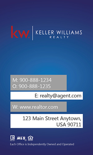 Keller Williams Vertical Blue Business Card with Head Shot - Design #103442
