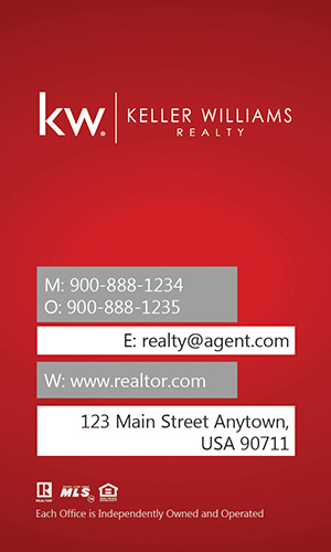 Keller Williams Vertical Red Business Card with Head Shot - Design #103443