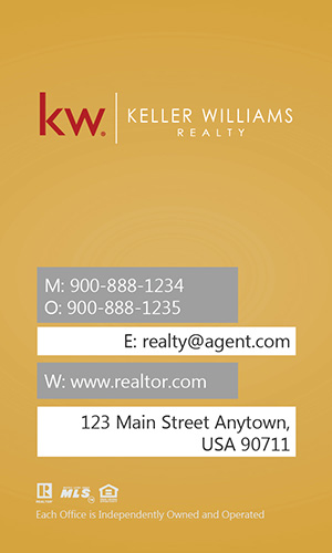 Keller Williams Vertical Yellow Business Card with Head Shot - Design #103444
