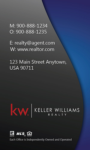 Vertical Keller Williams Business Card Modern Blue - Design #103451