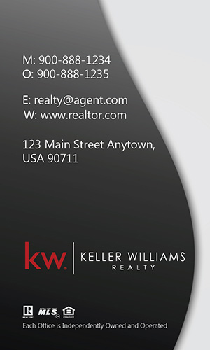 Vertical Keller Williams Business Card Modern Gray - Design #103452