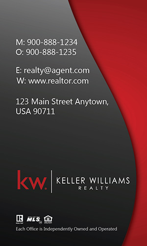 Vertical Keller Williams Business Card Modern Red  - Design #103453
