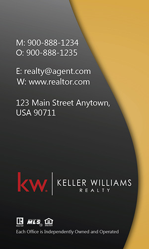 Vertical Keller Williams Business Card Modern Yellow - Design #103455