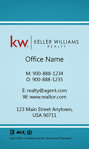Vertical Keller Williams Realtor Business Card Blue - Design #103461
