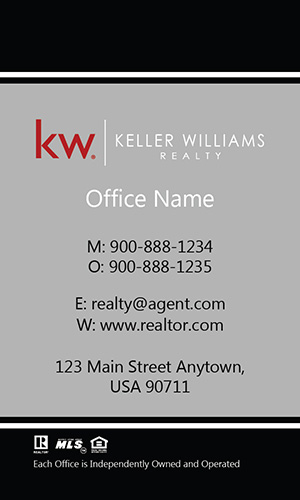 Vertical Keller Williams Realtor Business Card Elegant Gray - Design #103462