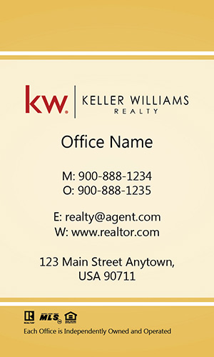 Vertical Keller Williams Realtor Business Card Elegant Yellow - Design #103464