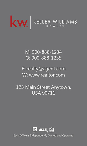 Keller Williams Realtor Vertical Business Card with Photo - Design #103471