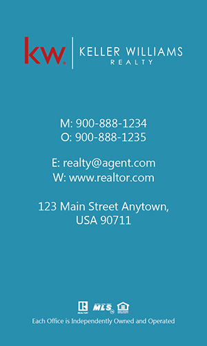 Keller Williams Realtor Vertical Business Card with Photo - Design #103472