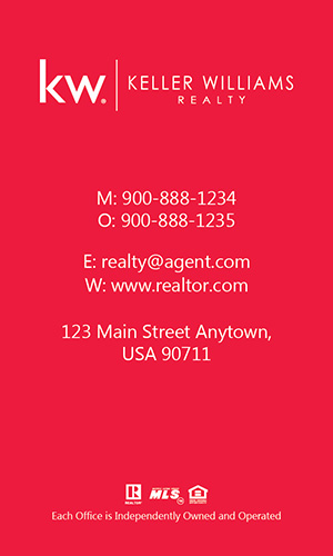 Keller Williams Realtor Vertical Business Card with Photo - Design #103473
